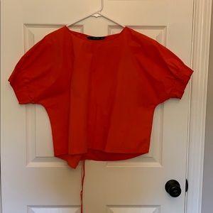 Zara orange short sleeve cropped cotton top